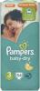 Pampers 3 Baby-Dry, 54 шт (5-9 кг) - 5 - 9  кг  ( 54 шт )   Подгузники  серии  Baby - Dry  имеют :  до  12  часов  защиты  ночью  сгибаются  по  форме  тела , не  мешая  малышу  спать  супер  впитывающий  слой  Ultra  поглощает  всю  влагу